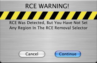 RCE region warning